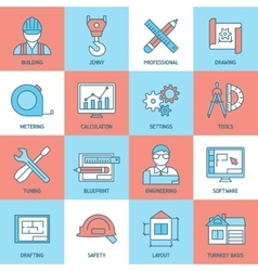 Engineering and blueprint icons set vector