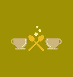 Flat icon on background cups hot coffee vector