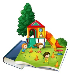 Giant book with children playing at playground vector image vector image