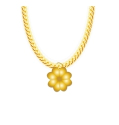 Gold Chain Jewelry whith Four-leaf Clover vector image