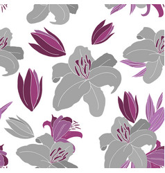 grey lily pattern vector image vector image