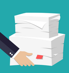 hand hold stack of papers vector image vector image
