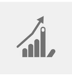 Icon flat hand index finger up arrow growth vector