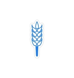 Icon sticker realistic design on paper wheat vector