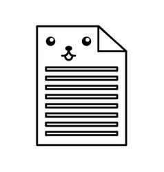 kawaii document cartoon vector image