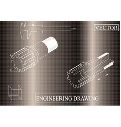 Machine-building drawings on a brown background vector