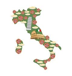 Map of italy traditional italian food symbols vector