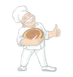 Moustached baker holding bread vector