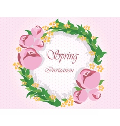 Round frame with delicate pink flowers vector