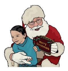 santa claus hugging little boy vector image