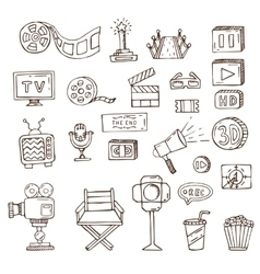 set of hand drawn cinema doodles vector image vector image