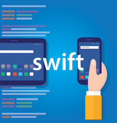 swift mobile application programming language vector image vector image