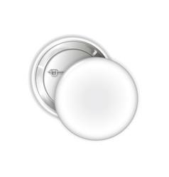 white blank badge pin brooch mockup 3d vector image