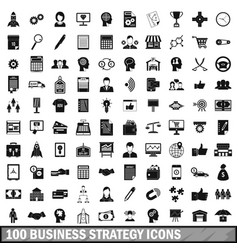 100 business strategy icons set simple style vector
