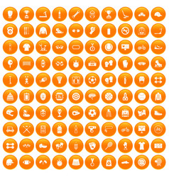 100 sport accessories icons set orange vector
