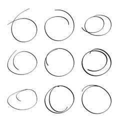 Set hand drawn ovals vector