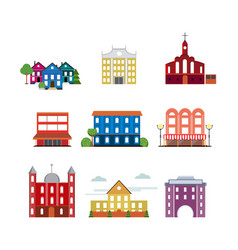 City urban buildings collection vector