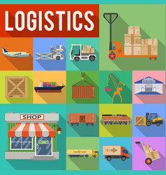 Cargo transport and logistics icon set vector