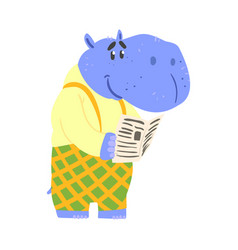 Cute cartoon hippopotamus reading newspaper vector