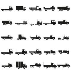 set trucks black silhouette icons vector image