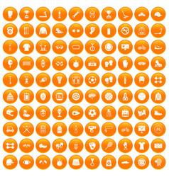 100 sport accessories icons set orange vector