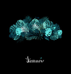 Banner with tropical palm and monstera leaves on vector