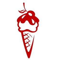Ice cream cone topped with a berry vector