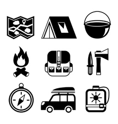 Outdoors tourism camping flat pictograms set vector