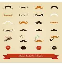 Colorful mustache icon set vector