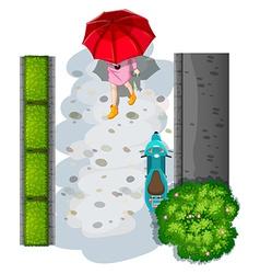 A topview of a woman with an umbrella vector image