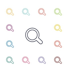 Search flat icons set vector