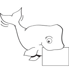 Cartoon whale holding a sign vector