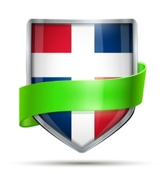 Shield with flag dominican republic and ribbon vector