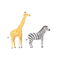 african animals cartoon set giraffe zebra vector image vector image