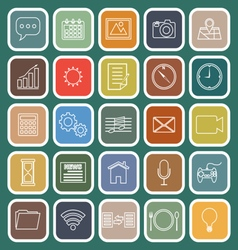 Application line flat icons on green background vector image vector image