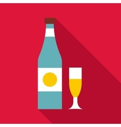 Bottle and glass icon flat style vector