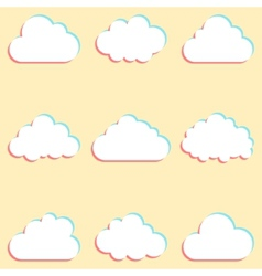 clouds set with colored edges and icons for cloud vector image vector image