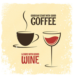 Coffee and wine logo design vintage background vector