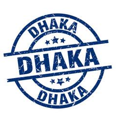dhaka blue round grunge stamp vector image vector image