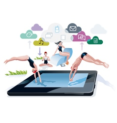 Diving into a pool tablet vector