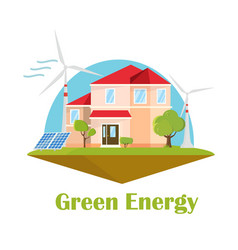 eco house solar wind energy green energy concept vector image vector image