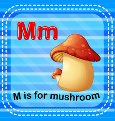flashcard letter m is for mushroom vector image