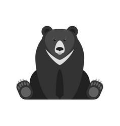 flat style of black bear vector image