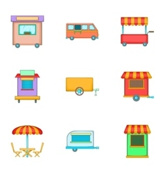 Food truck icons set cartoon style vector