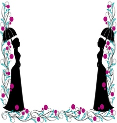 Frame backgroung vintage silhouette vector