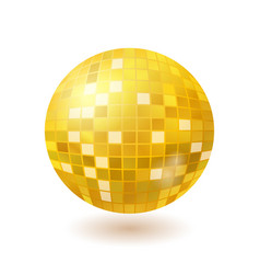Golden disco mirror ball isolated on white vector