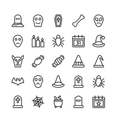 Halloweenparty and celebration line icon 23 vector