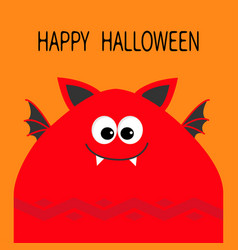 Happy halloween card funny monster head with fang vector