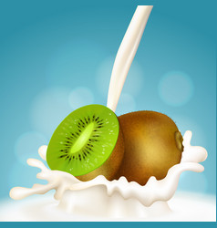 kiwi and milk vector image