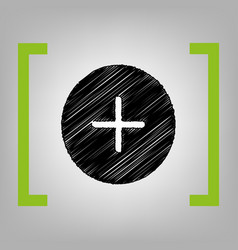 Positive symbol plus sign black scribble vector